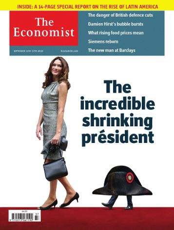 The economist couverture The incredible shrinking président