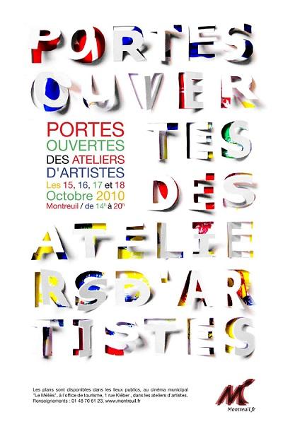 L'affiche des prochaines Portes ouvertes des ateliers d'artistes de Montreuil