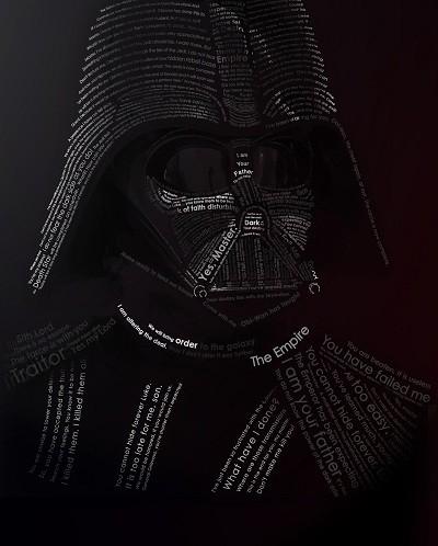 Dark Vador typographié par Evan Travelstead