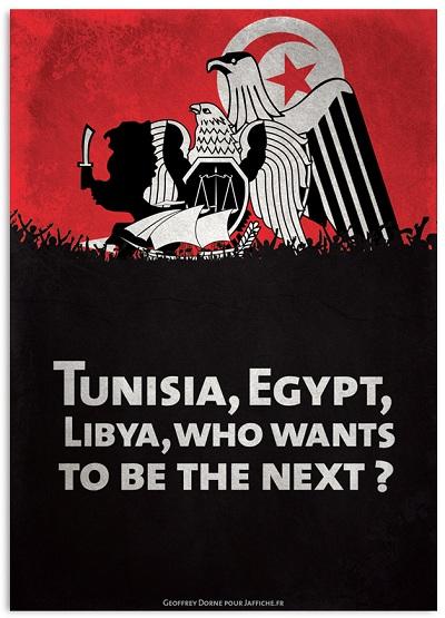 Tunisia Egypt Libya Revolution!, l'affiche de Geoffrey Dorne