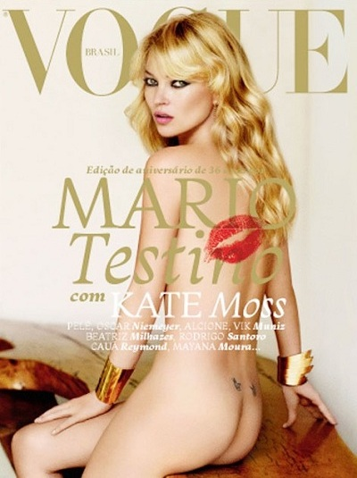 Kate Moss par Mario Testino dans Vogue Bresil