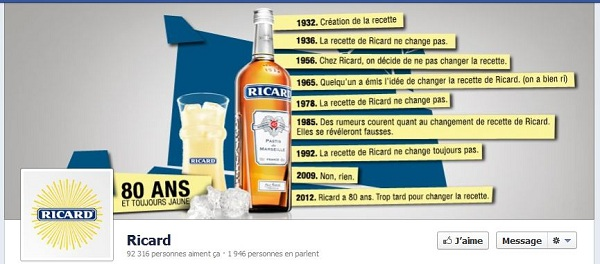 timeline Facebook Ricard