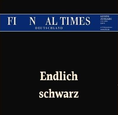 la dernière une du Financial Times Deutschland