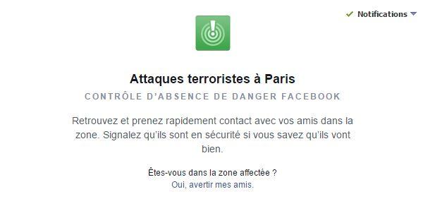 Facebook contrôle absence de danger